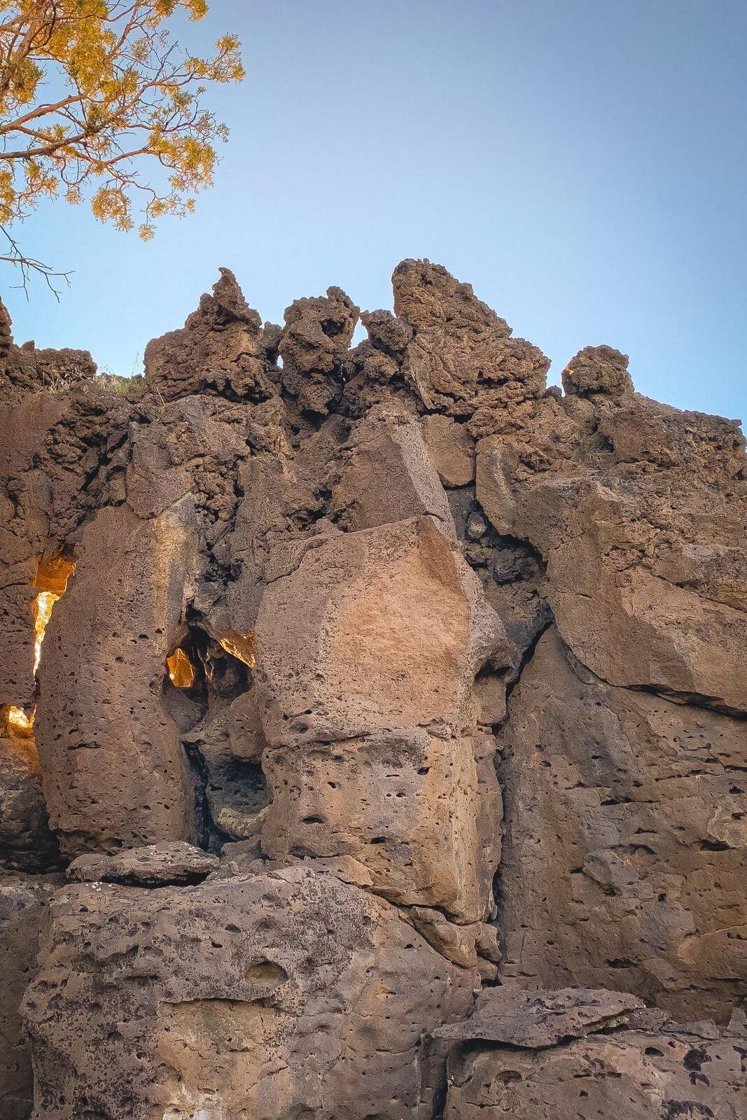 Flatiron rock formation at sunset.