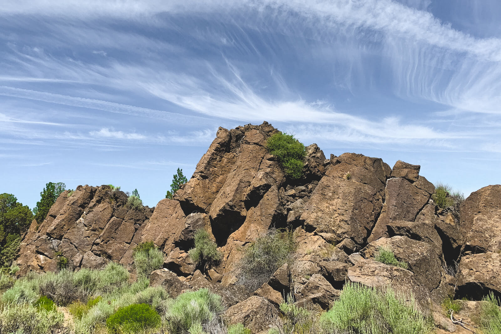lava rocks stacked high in the Oregon Badlands