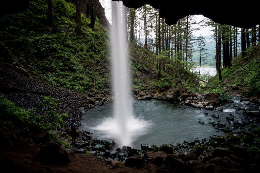 Man admiring Ponytail Falls