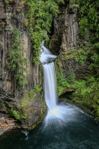 Sheer rock cliffs cut by the rushing waters ofTokatee Falls