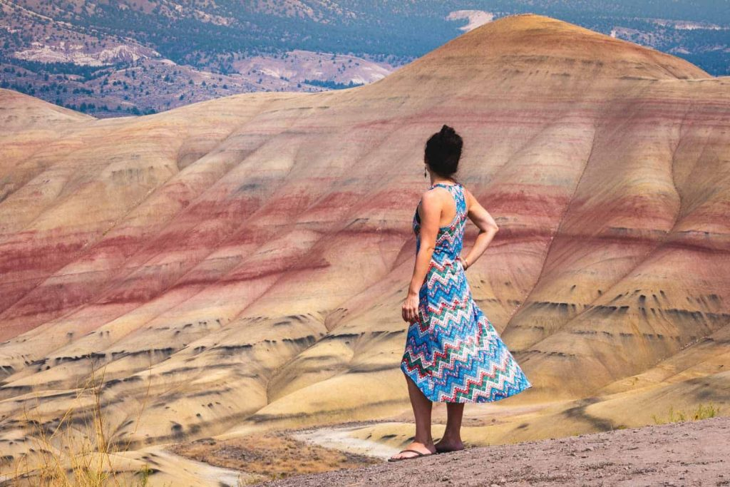 Nina looking out over Painted Hills, one of the most beautiful places in Oregon
