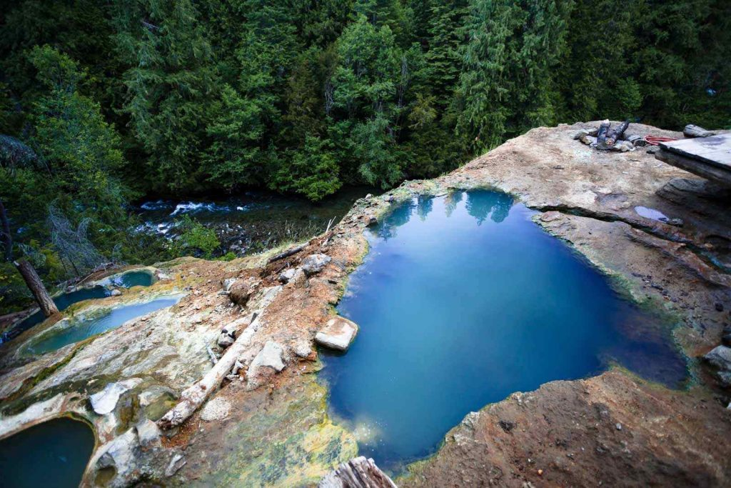 View looking down on Umpqua Hot Springs, one of the most beautiful places in Oregon