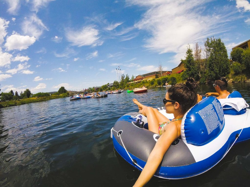Floating on the Deschutes River in Bend
