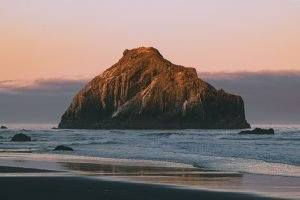 Bandon Beach rock formation on an Oregon coast road trip