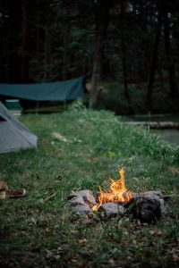 A bonfire near the tents on the Oregon Coast camping.