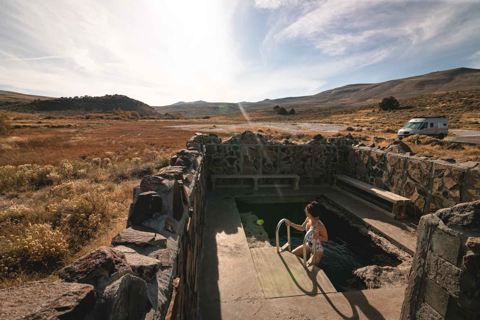 Relax at the Hart Mountain hot springs after a long day on your Oregon road trip.