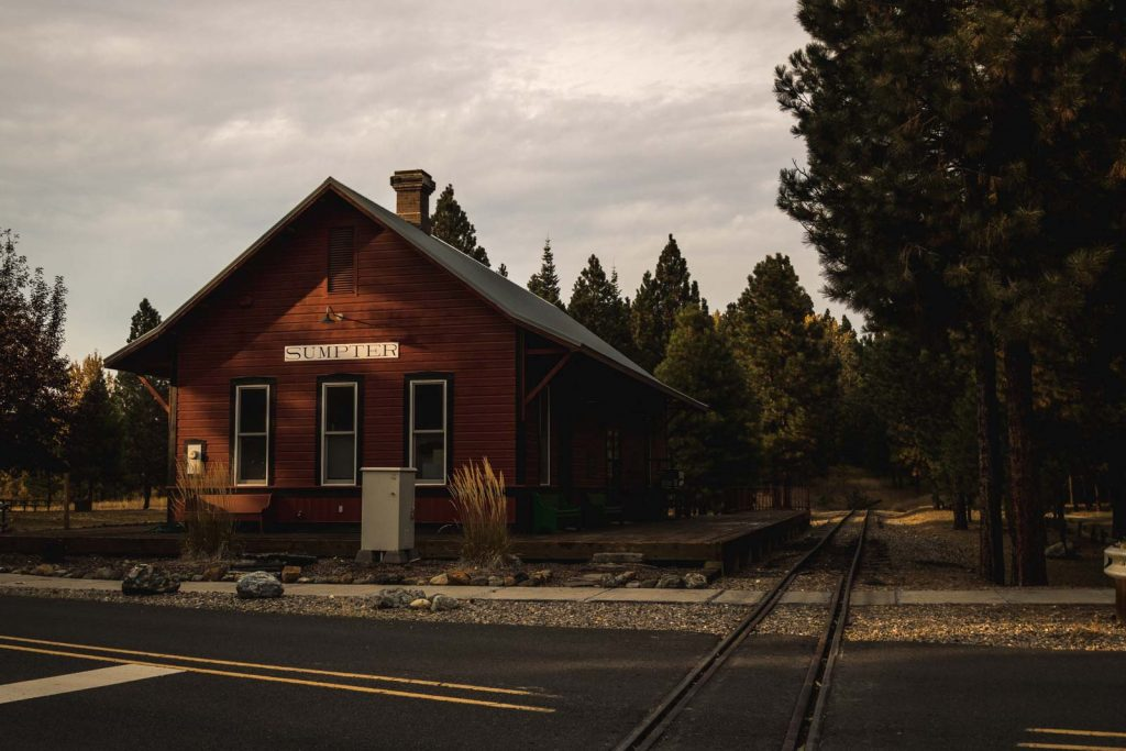 View of Sumpter Train Station on your Oregon road trip.