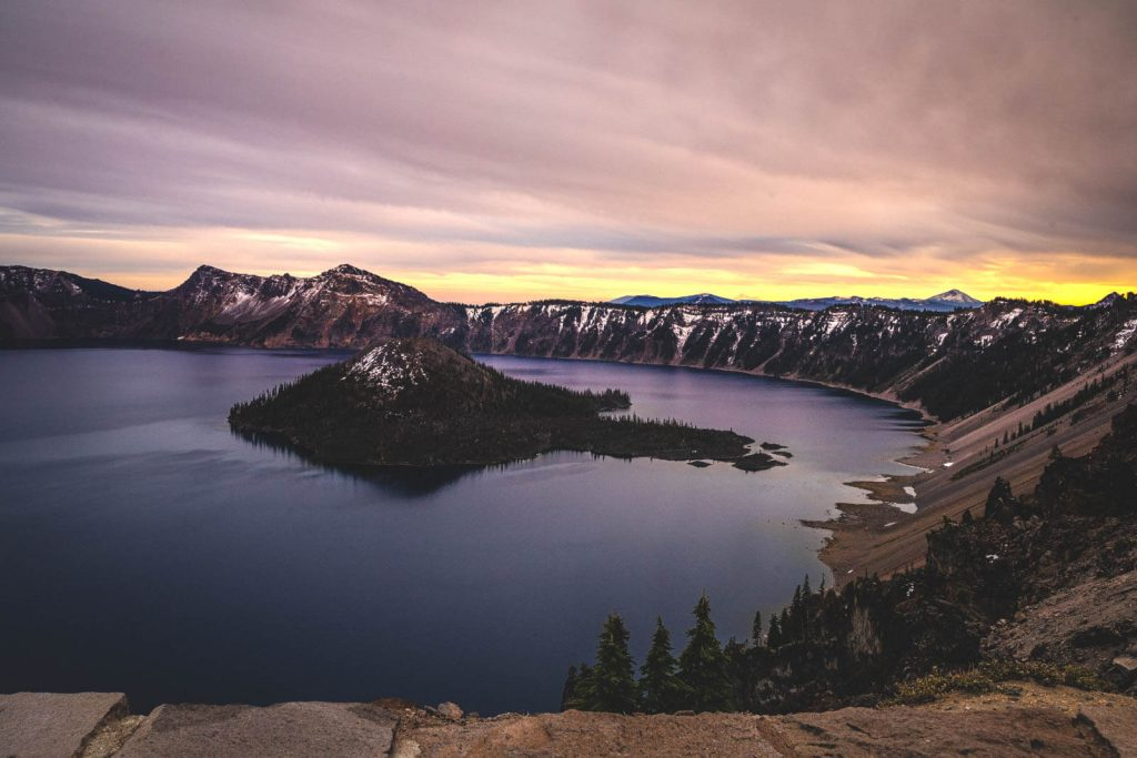Dawn at Crater Lake National Park is something you must see in Oregon in winter.