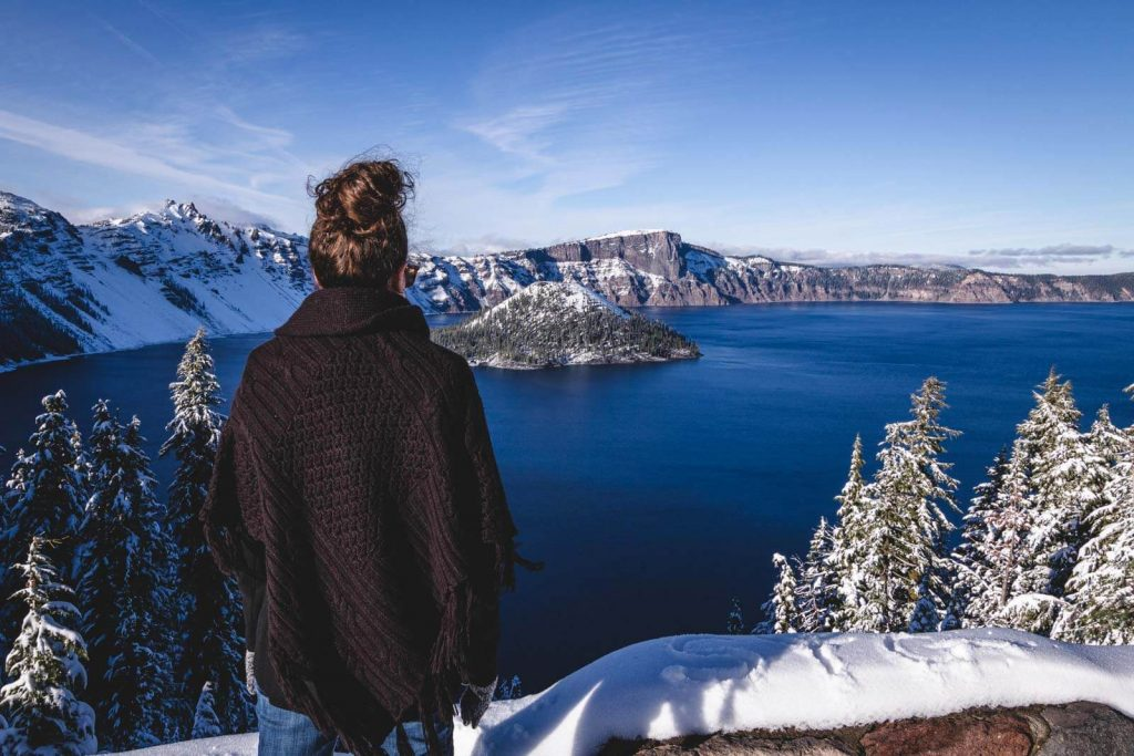 Stunning view on Crater Lake in winter in Oregon