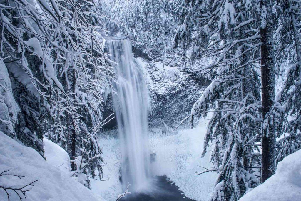 Salt Creek Falls during winter in Oregon