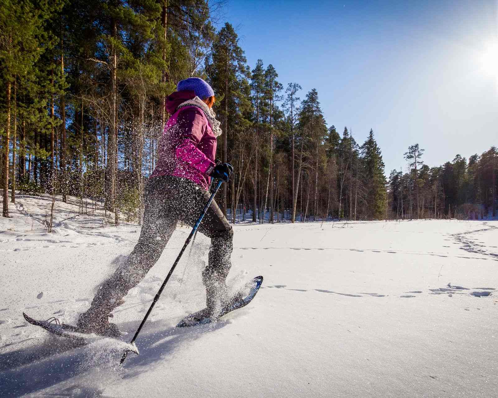 Snowshoeing is a fun winter activity near the Cascade Lakes.