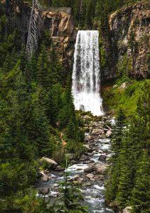 A cool Oregon waterfall is Tumalo Falls.
