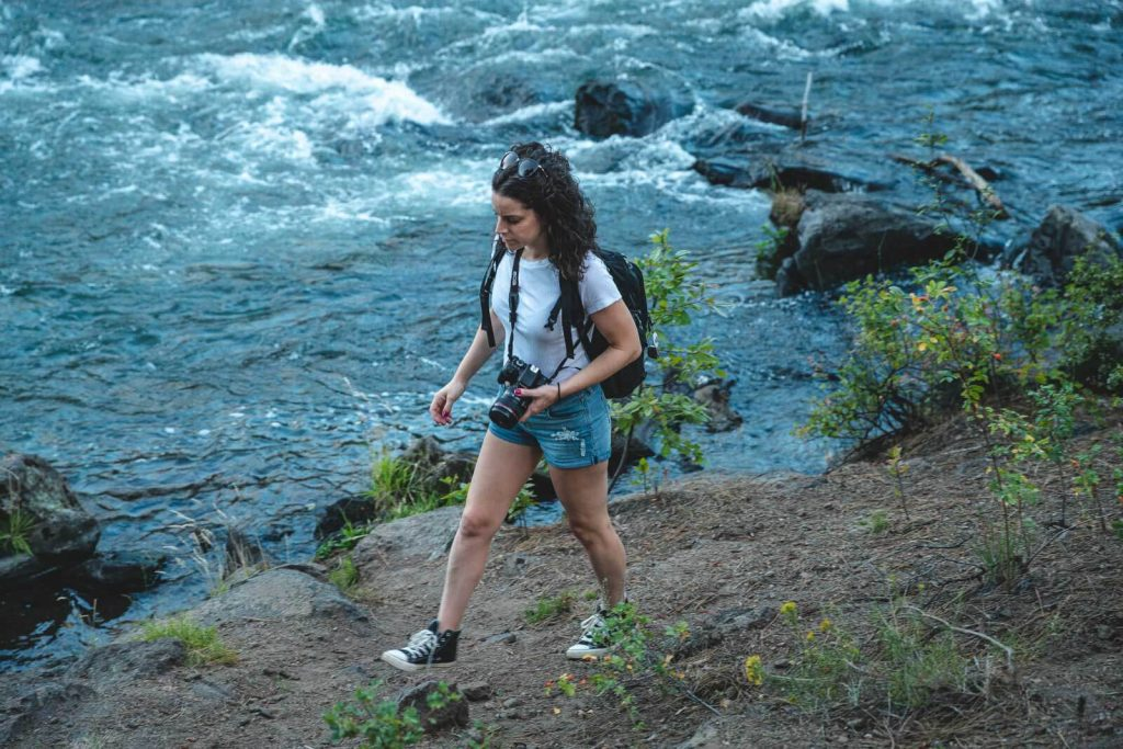 A view of me hiking on the Deschutes River — one of the many exciting things to do in Bend