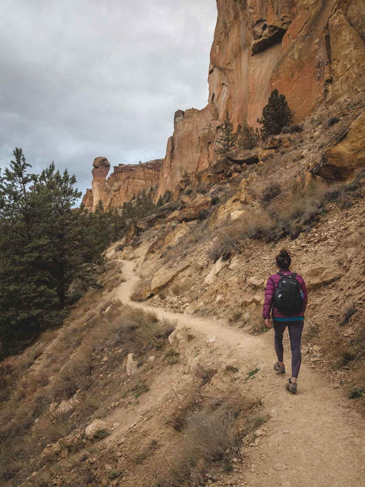 Me hiking on Misery Ridge Trail — add this to your list if you're wondering what to do in Bend