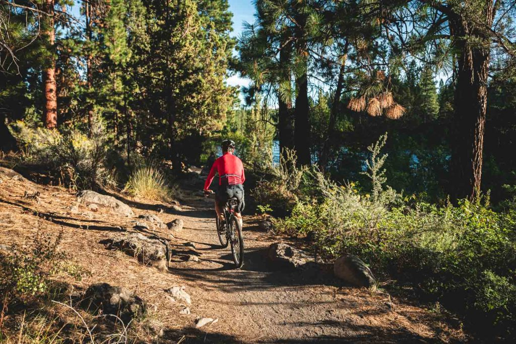 A photo of mountain biking in Oregon which is one of many exciting things to do in Bend