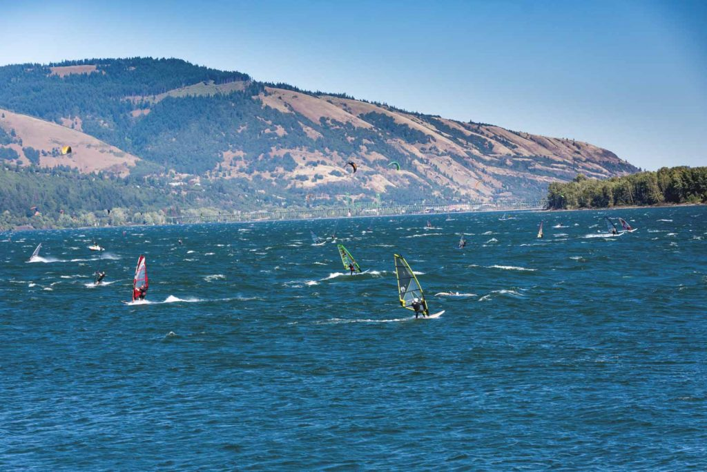 Kitesurfing on the Columbia River Gorge is one of the best things to do in Washington!