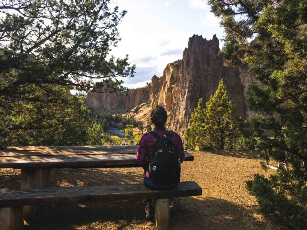 Take a break from hiking and hang out in the picnic area on the Smith Rock trails.