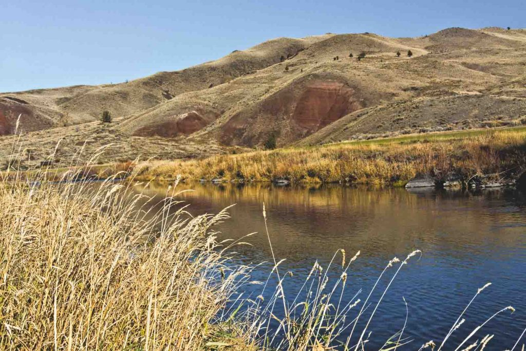 A camping area near the river in the John Day Fossil Beds.