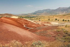 A hiking trail in the Painted Hills.