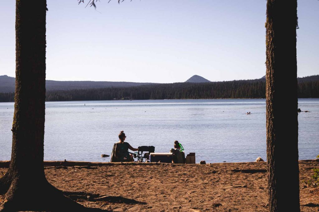 Be sure to hang out at the beach on Wickiup Lake near the Cascade Lakes.