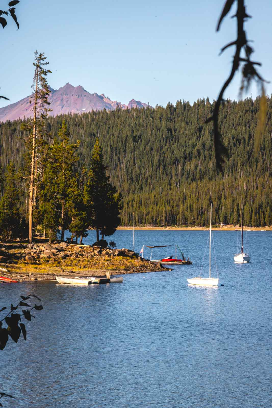 The view of the mountain at Elk Lake near the Cascade Lakes is beautiful.