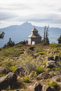 Tower with mountain in the background on Black Butte hike