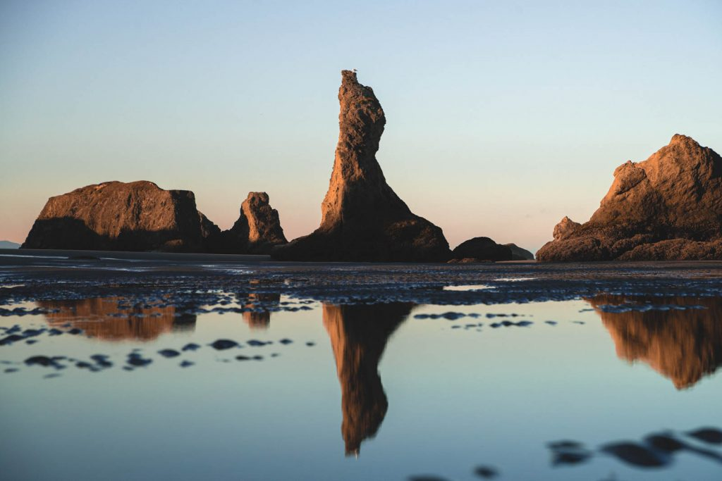 Rock reflection on Bandon Beach, one of the Oregon Coast State Parks