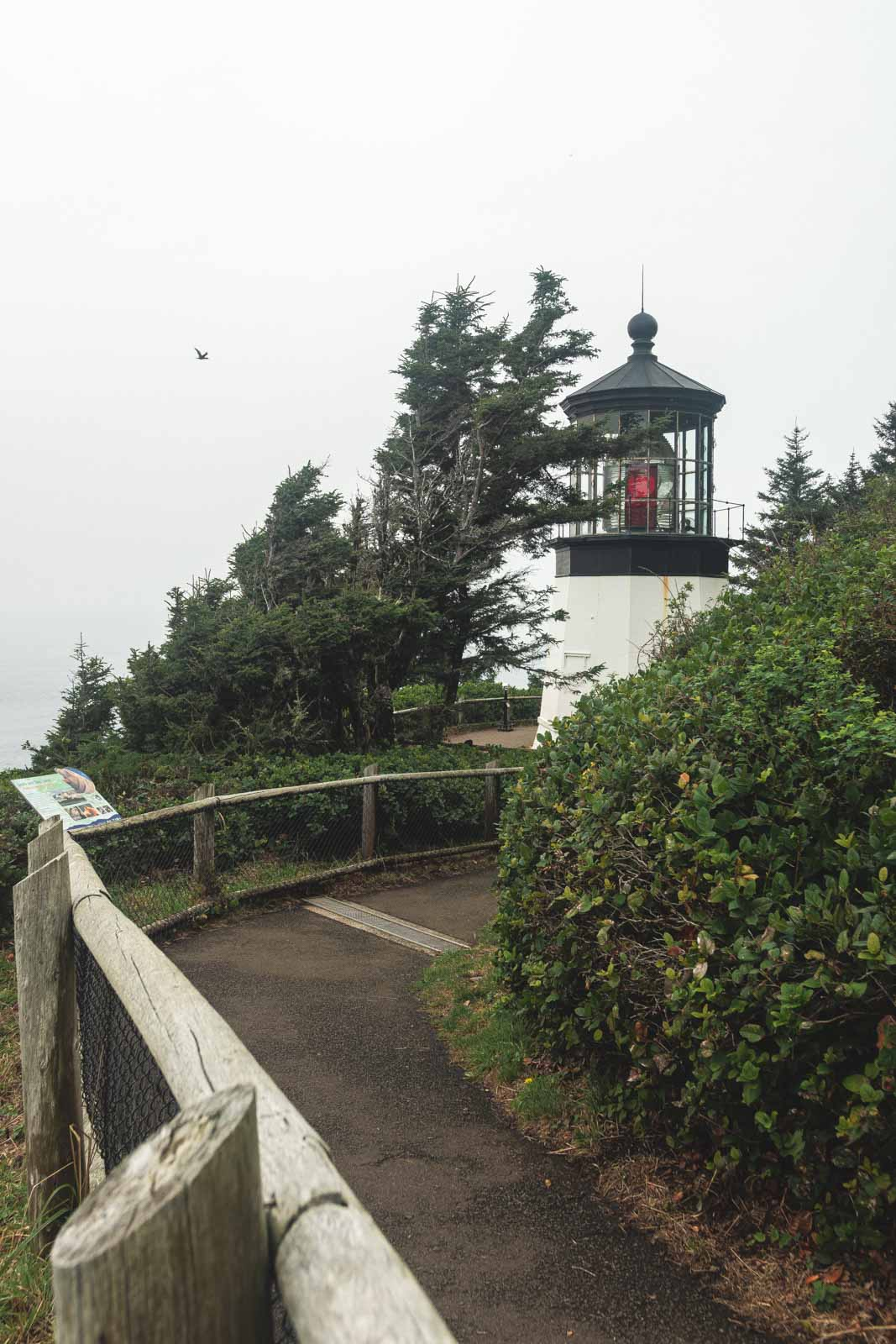 View of track and Cape Meares Lighthouse, a must visit Oregon Lighthouse