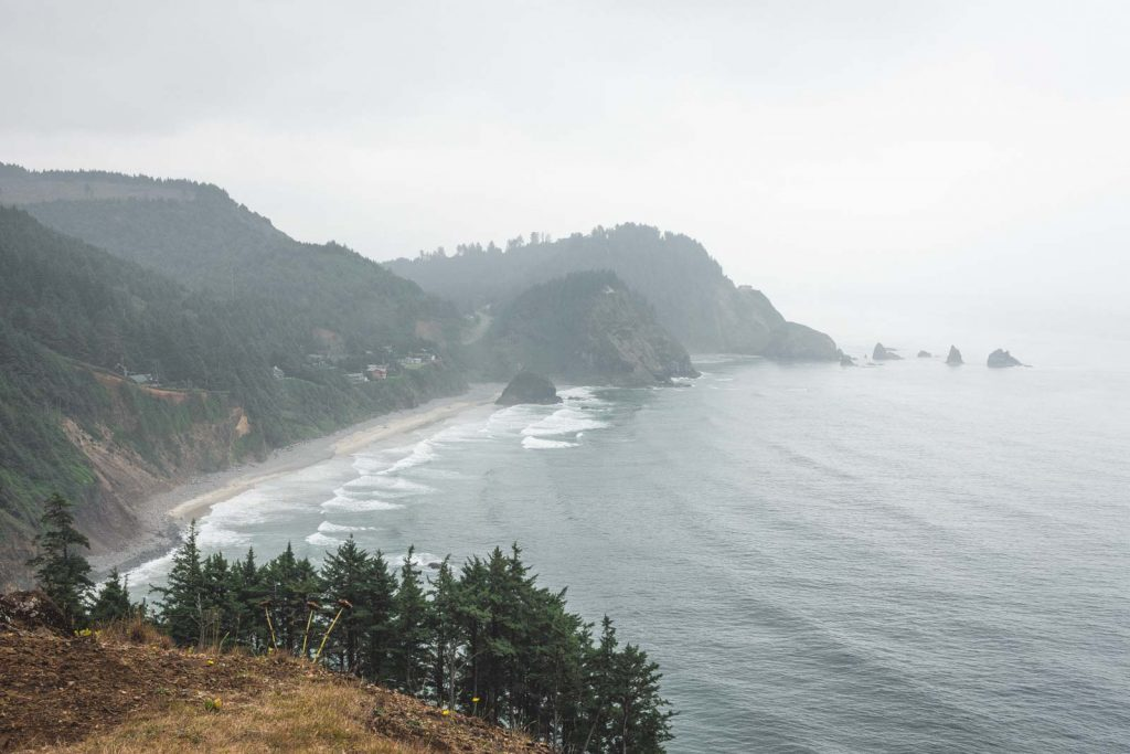 Ocean and beach view from above at Cape Meares State Park, one of the Oregon Coast State Parks