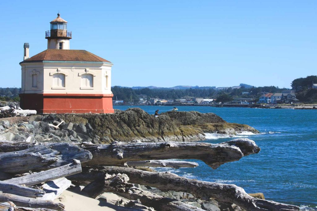 View of Coquille River Lighthouse, a great Oregon Lighthouse
