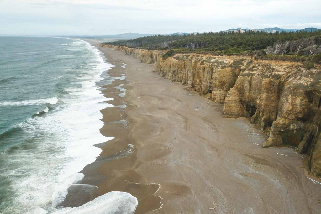 View of beach and sea cliffs at Floras Lake State Park on the Oregon Coast