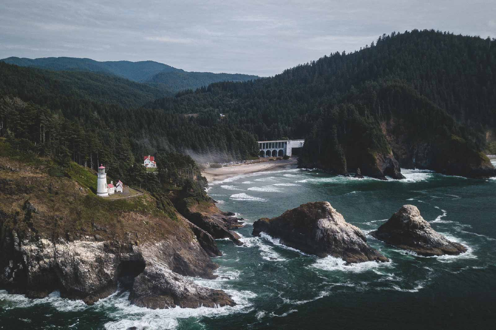 View of Oregon coast and Heceta Lighthouse, a popular Oregon Lighthouse