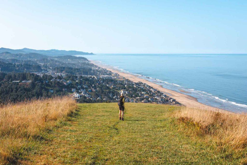 Person standing at viewpoint over beach and ocean on The Knoll