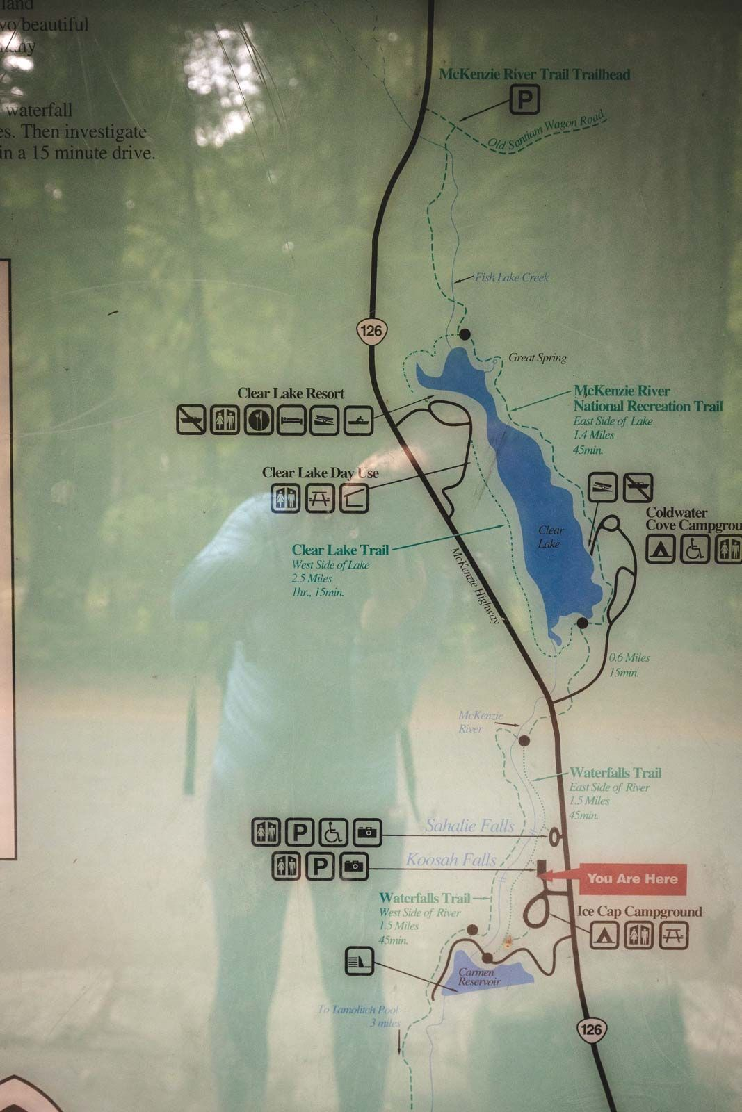 Map for The McKenzie River Trail with reflection of person