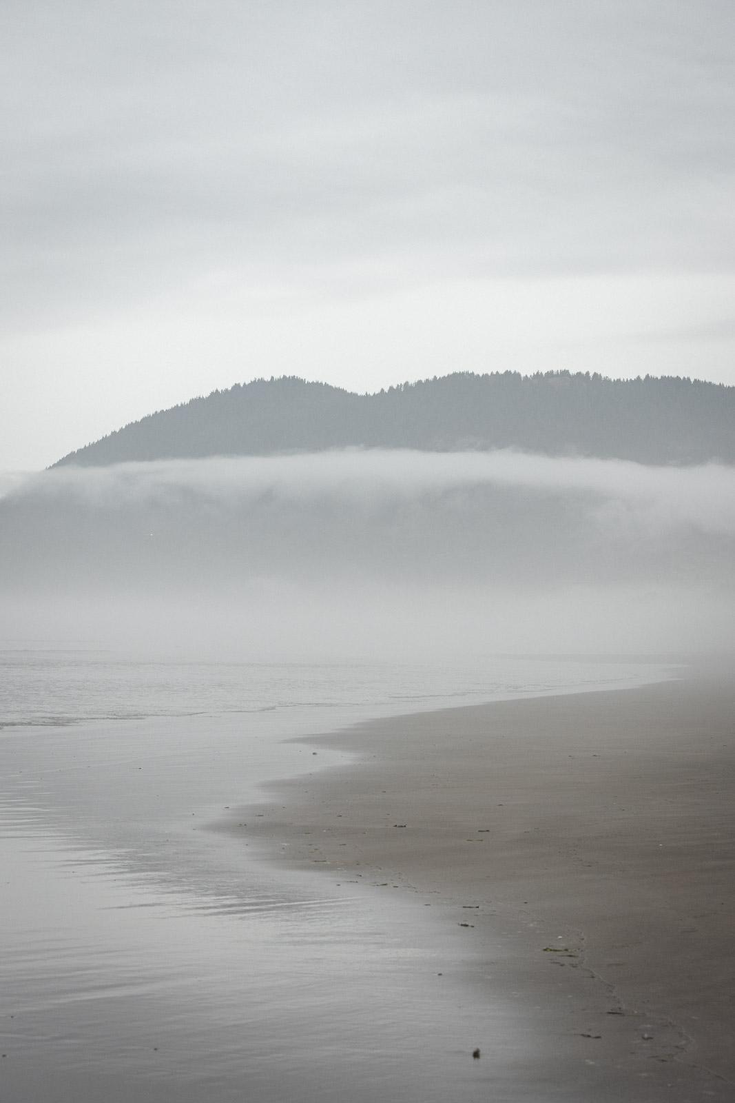 Misty beach view of Nehalem Bay, one of the Oregon Coast State Parks