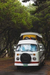 VW van in Nehalem Bay State Park, one of the Oregon Coast State Parks
