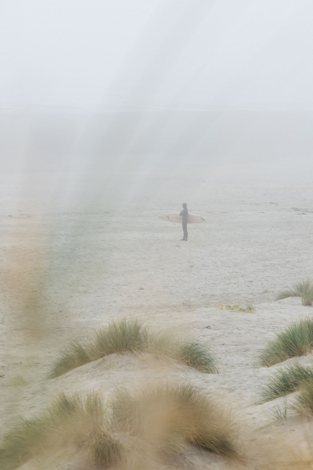 Person standing on beach in fog at South Beach State Park in Oregon