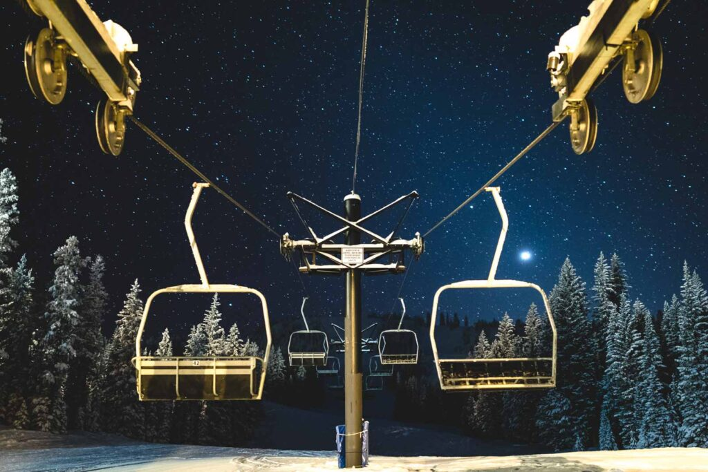 Gondola at night at Anthony Lake, one of the best Ski Resorts in Oregon