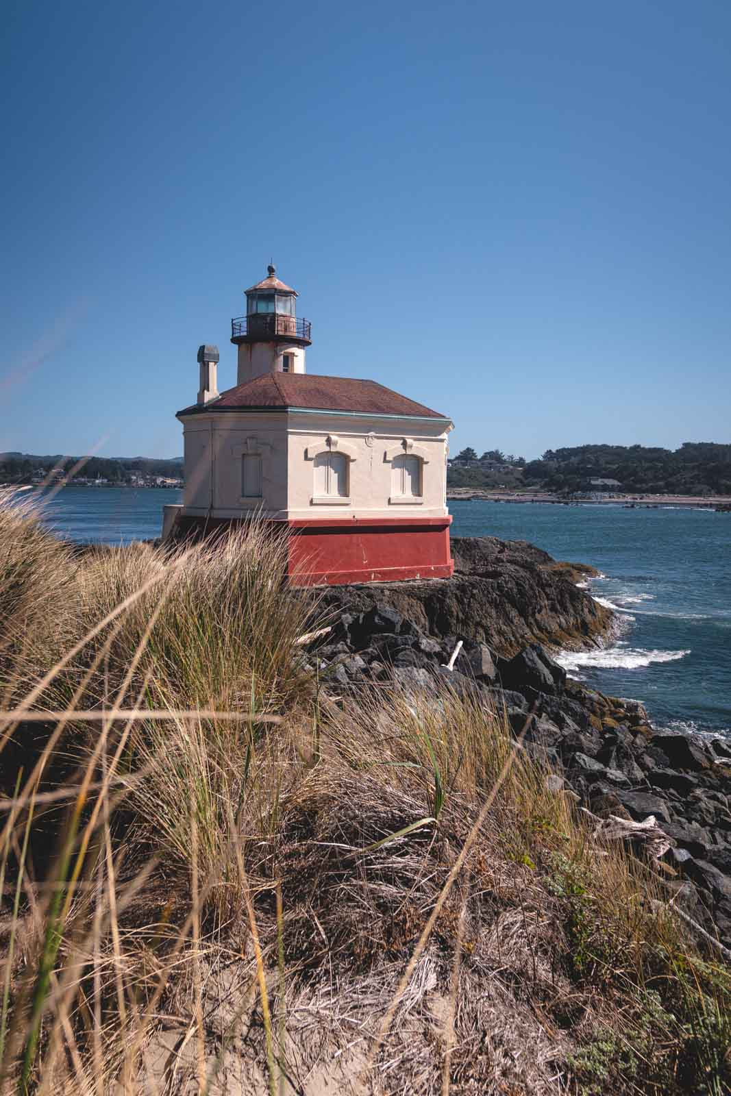 Bullards Beach Lighthouse with ocean in background