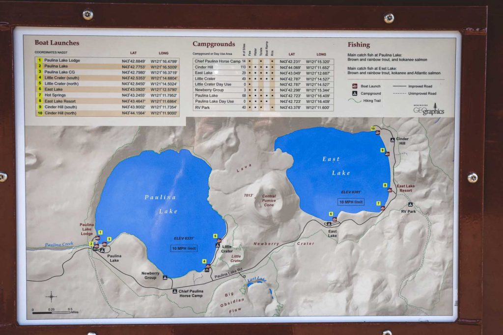Map of camping area at Newberry National Volcanic Monument
