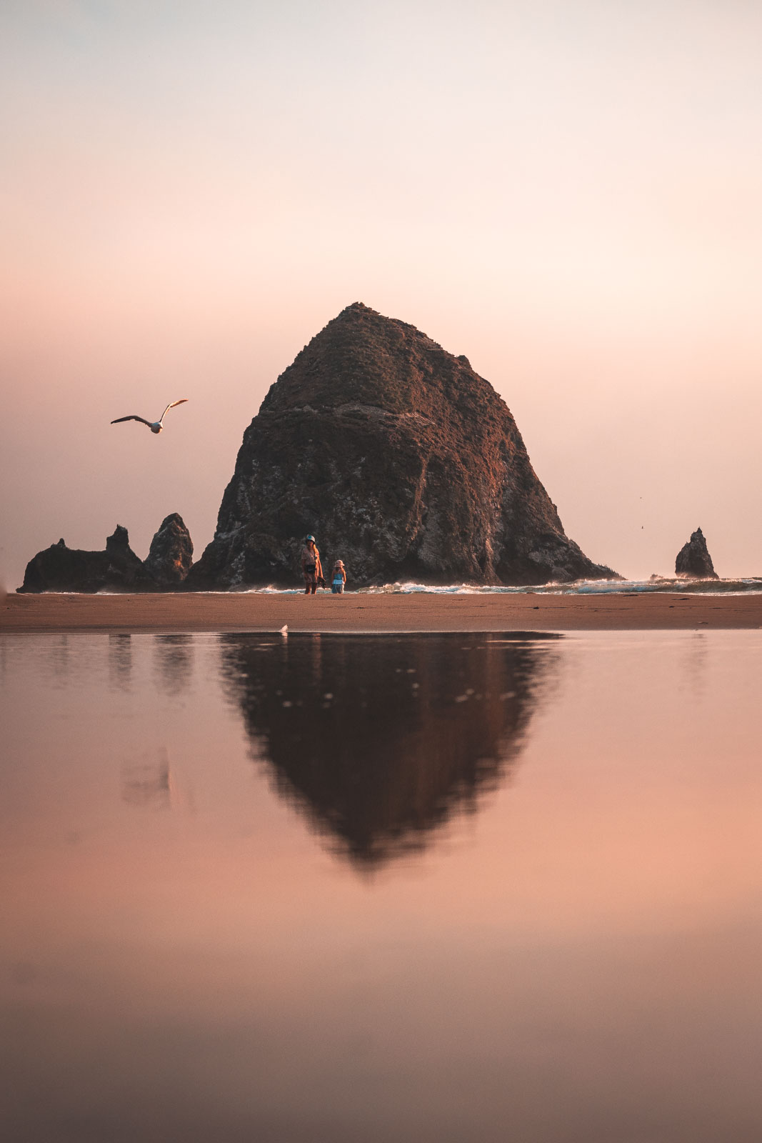 Haystack Rock reflecting in water of Cannon Beach at sunset