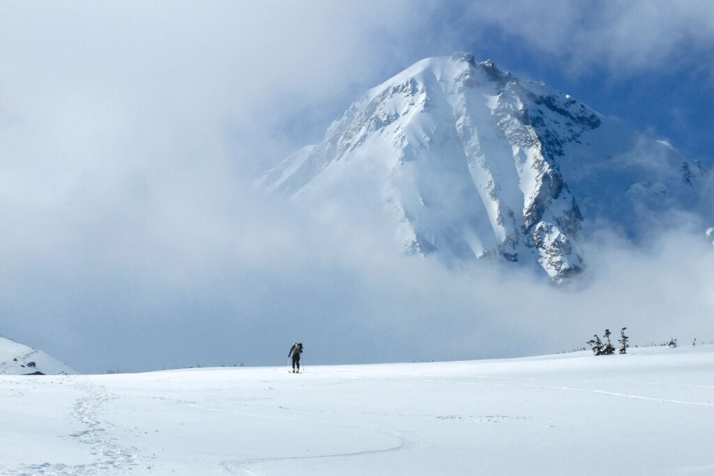 A lone backcountry skier makes his way up the Mt. Hood Cooper Spur route in the Cooper Spur Ski Resort in Oregon