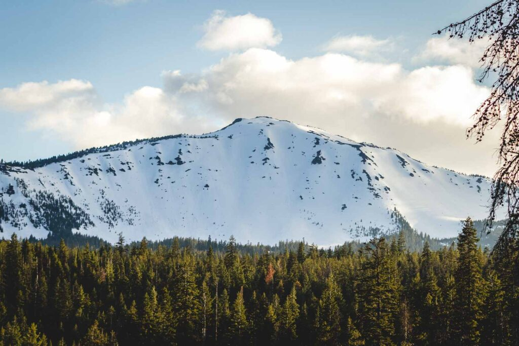 Snow capped mountain surrounded by clouds and with forest in the foreground at Mount Bailey Ski Resort in Oregon