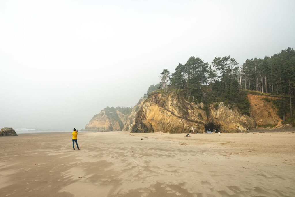 Person walking on beach with sea cliffs in background at Hug Point