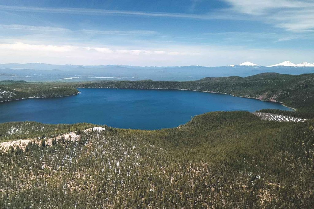View over Paulina Lake and forest at Newberry National Volcanic Monument