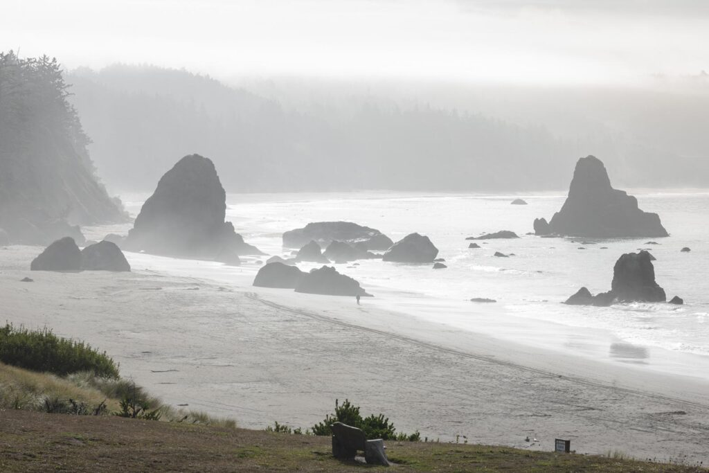 Foggy beach with sea stacks rising out of the ocean at Port Orford Beach, one of the best beaches in Oregon
