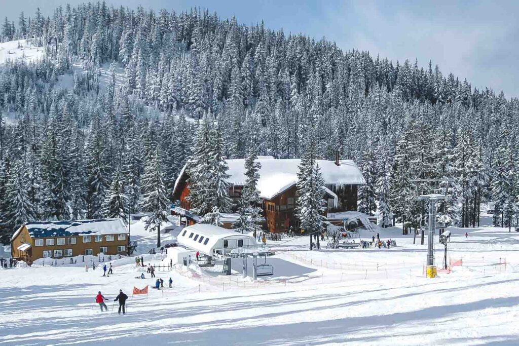 Building amongst the trees and covered in snow at Willamette Pass Ski Resort in Oregon