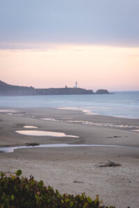 Beverly Beach State Park beach in Oregon at sunset