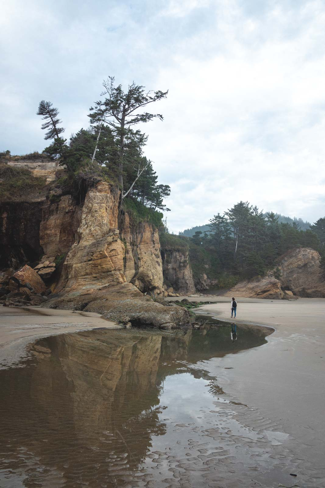 Beach with large rock and stream at Otter Rock State Park