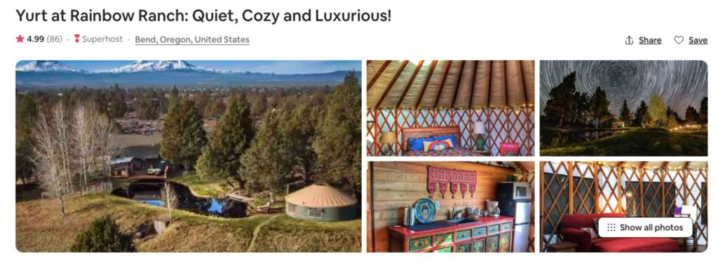 Pictures of Bend Oregon Yurt on Airbnb